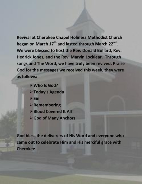 Cherokee Revival Summary 2013 March